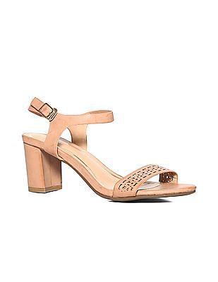 Stride Brown Lasercut Strap Block Heel Sandals