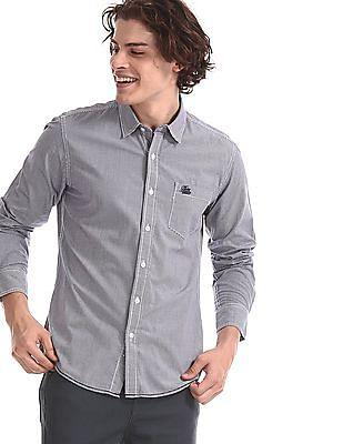Flying Machine Black Cotton Check Shirt
