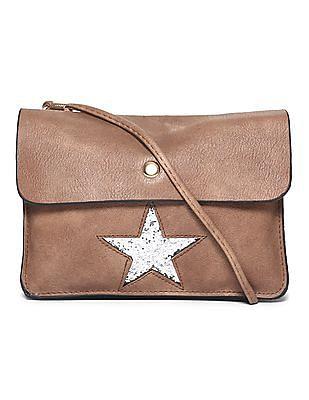 SUGR Brown Embellished Cutwork Sling Bag