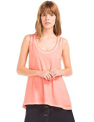 GAP Women Red Vintage Wash Scoop Tank