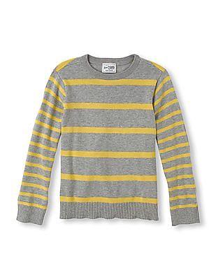 The Children's Place Boys Grey Crew Neck Stripe Sweater