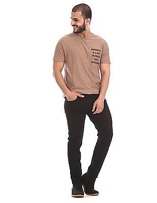 Cherokee Brown Printed Text Crew Neck T-Shirt