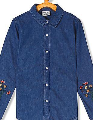 Cherokee Girls Embroidered Denim Shirt