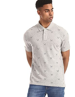 Aeropostale Grey Oar Print Pique Polo Shirt