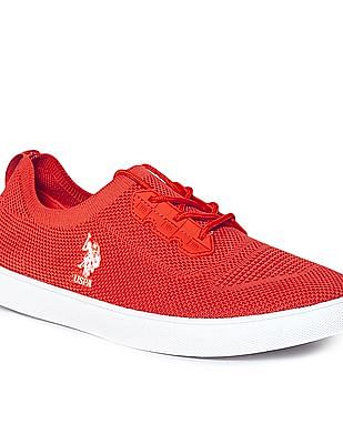 U.S. Polo Assn. Red Knit Upper Lace Up Sneakers