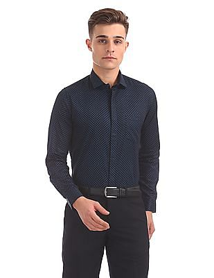 Excalibur Concealed Placket Printed Shirt