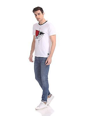Arrow Sports Appliqued Crew Neck T-Shirt