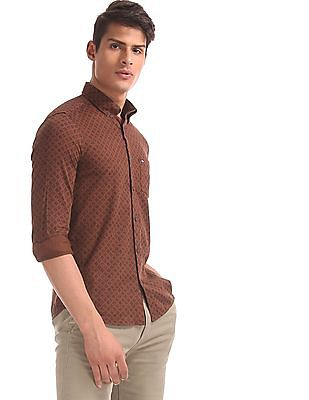 Arrow Sports Brown Slim Fit Button Down Shirt