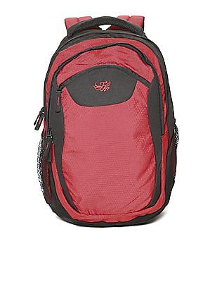 Flying Machine Red Textured Laptop Backpack