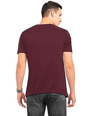 Ruggers Red Slim Fit Solid T-Shirt