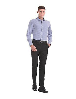 Arrow Blue Semi Cutaway Collar Check Shirt