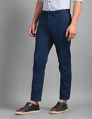 True Blue Blue Slim Fit Patterned Trousers