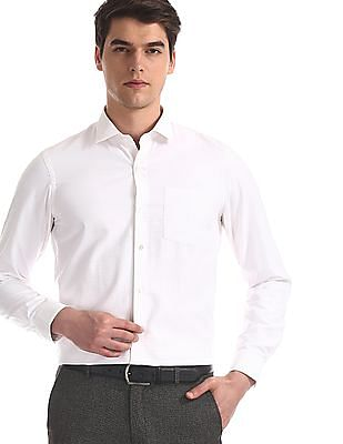 Arrow Newyork White French Placket Striped Shirt