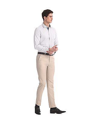 Arrow White Urban Slim Fit Patterned Shirt