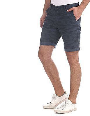 Flying Machine Blue Super Slim Fit Printed Shorts