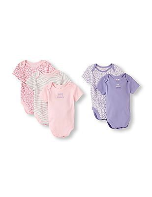 The Children's Place Baby Girls Assorted Short Sleeve Animal Print Bodysuits 5-Pack
