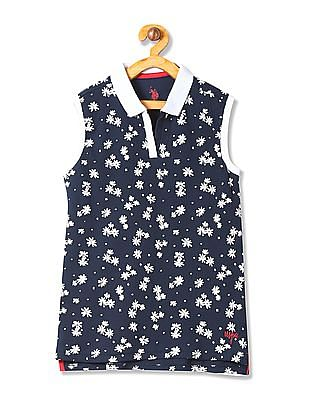 U.S. Polo Assn. Kids Girls Sleeveless Polo Shirt