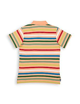 Cherokee Boys Appliqued And Striped Polo Shirt