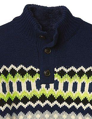 GAP Boys Patterned Mock Neck Sweater