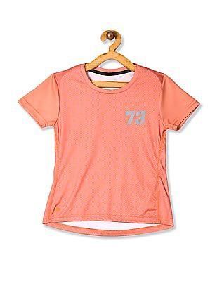 Cherokee Orange Girls Printed Active T-Shirt