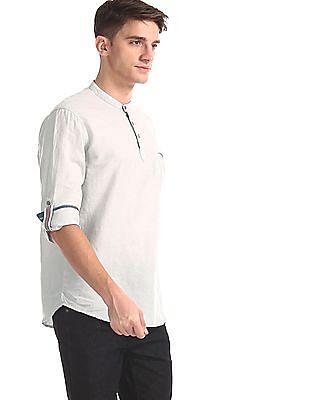 Cherokee Grey Mandarin Collar Popover Shirt