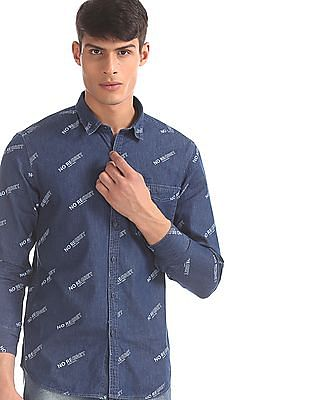 Flying Machine Blue Printed Denim Shirt