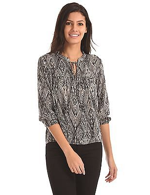 U.S. Polo Assn. Women Notched Neck High Low Peasant Top