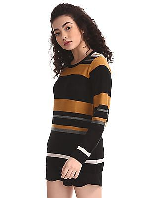 Cherokee Yellow And Black Crew Neck Striped Sweater