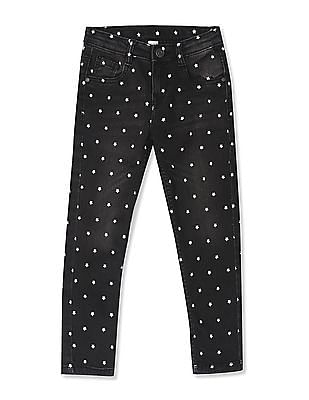 Cherokee Black Girls Star Print Slim Fit Jeans