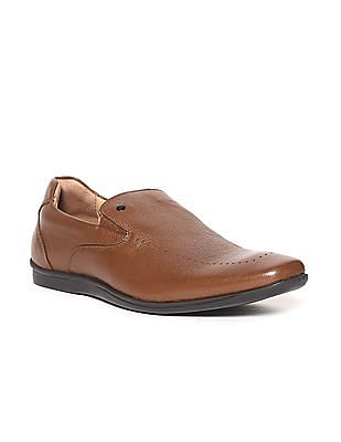 Arrow Brown Textured Leather Slip On Shoes