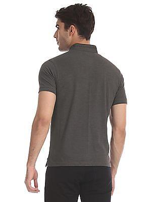 Ruggers Grey Mandarin Neck Pique Polo Shirt