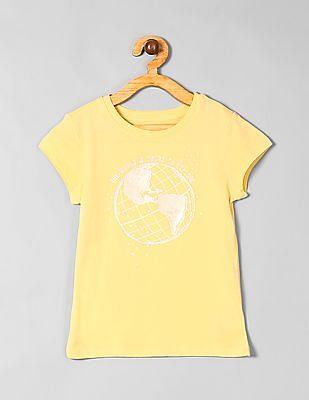 GAP Yellow Girls Graphic Short Sleeve T-Shirt