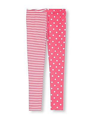 The Children's Place Girls Dot And Stripe Split-Print Leggings