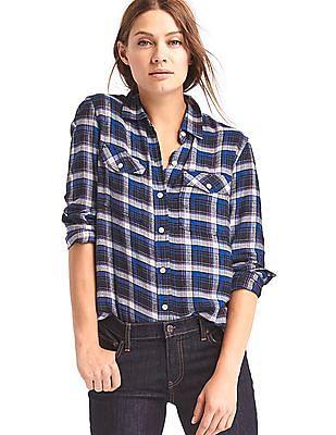 GAP Women Blue Soft Plaid Combo Boyfriend Shirt