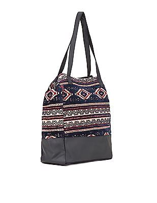 SUGR Velvet Finish Patterned Tote Bag