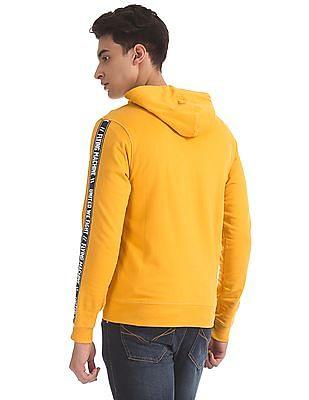 Flying Machine Yellow Drawstring Hood Brand Taping Sweatshirt