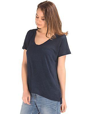 GAP Women Blue Linen V-Neck Tee