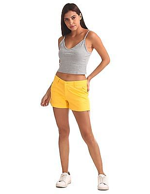 Flying Machine Women Solid Woven Shorts