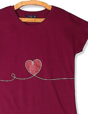 SUGR Pink Heart Print Round Neck T-Shirt