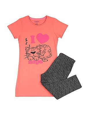 Cherokee Girls Longline T-Shirt and Leggings Set