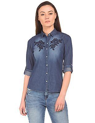 Flying Machine Women Embroidered Washed Denim Shirt