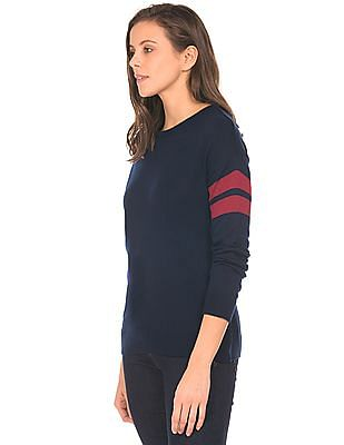 SUGR Striped Sleeve Crew Neck Sweater