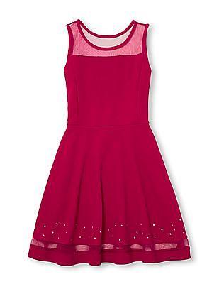 The Children's Place Girls Sleeveless Mesh And Rhinestud Neon Woven Dress