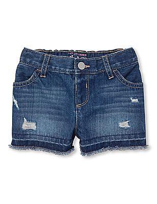 The Children's Place Toddler Girl Raw Hem Washed Denim Shorts
