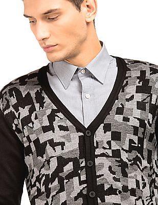 Arrow Newyork V-Neck Patterned Knit Cardigan