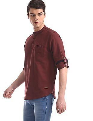 Cherokee Red Mandarin Collar Cotton Linen Shirt