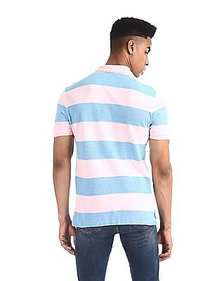 U.S. Polo Assn. Pink and Blue Striped Pique Polo Shirt