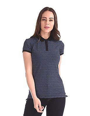 U.S. Polo Assn. Women Short Sleeve Printed Polo Shirt