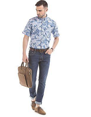 Arrow Sports Blue Regular-Fit Palm-Print Casual Shirt