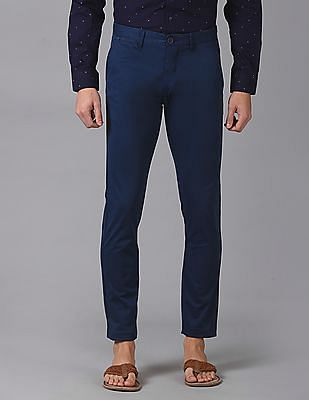True Blue Slim Fit Flat Front Trousers